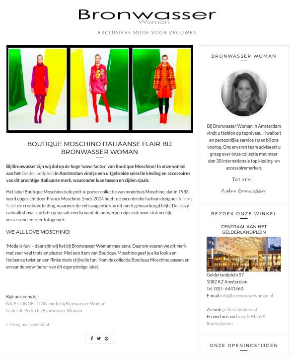 Bronwasser Woman Amsterdam Boutique Moschino