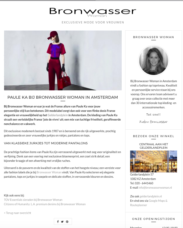 Bronwasser Woman Amsterdam Paule Ka