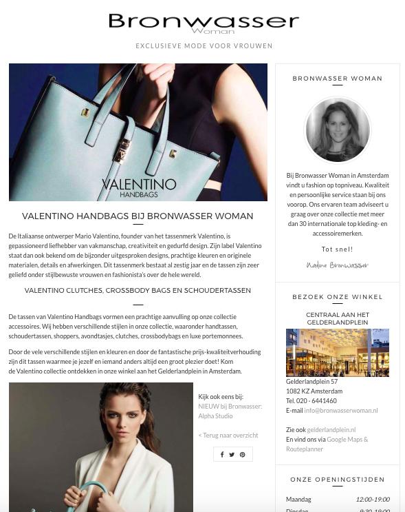 Bronwasser Woman Amsterdam Valentino Handbags